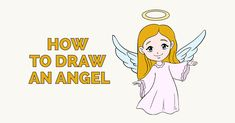 Learn How to Draw a Pretty Angel: Easy Step-by-Step Drawing Tutorial for Kids and Beginners. #drawing #tutorial See the full tutorial at  https://easydrawingguides.com/how-to-draw-an-angel/.