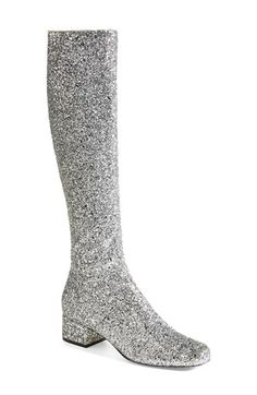 Saint Laurent Over the Knee Glitter Boot (Women) available at #Nordstrom