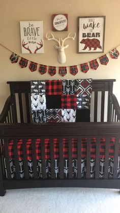 Buffalo plaid nursery. Designs by Christy bedding #babyboynursery