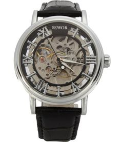 Sewor-Mens-Steampunk-Mechanical-Analog-Watch-Silver-New-Free-Shipping
