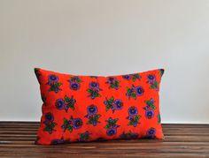 Orange Cotton Pillow Cover - Shimmer Pillow - Organic Shine - Botanical Floral Decorative Pillow -15x25 Lumbar Pillow Cover