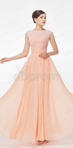 Peach prom dresses cap sleeves bridesmaid dresses long lace formal dresses