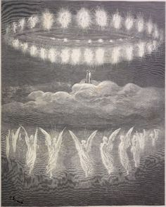 Gustave Dore: Heavenly host - Upon reaching the Ninth Heaven, the Primum Mobile, Dante and his guide Beatrice look upon the sparkling circles of the heavenly host.