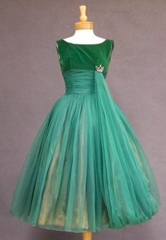 Cocktail Dress: 1950's, green velveteen and nylon chiffon.