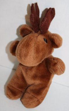 "Moose brown plush stuffed animal Reindeer toy 7"" felt antlers small little lovey"