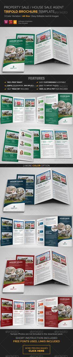 Property Sale Trifold Brochure TemplateReady to use for Property Sale, Home Sale, House Sale Agent, Land Sale Agent Trifold Brochu