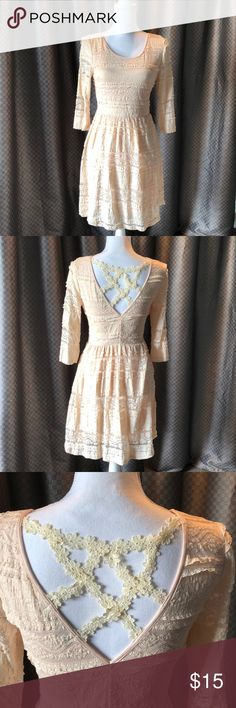 Women's small ivory lace dress This dress is brand new and worn to try on one time. It would look trendy paired with brown ankle boots or cowboy boots. filly flare Dresses Midi