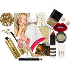 """Gold and white!"" by nessa-seme on Polyvore"