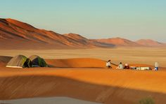 Desert camping site - Wahiba Sands, Oman. view on Fb https://www.facebook.com/OmanPocketGuide Credit: Green Oman