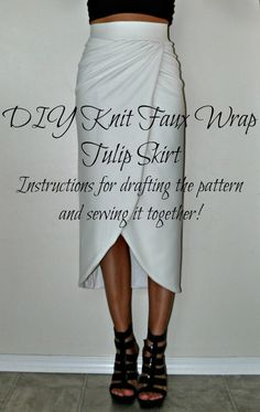 DIY Knit Faux Wrap Tulip Skirt