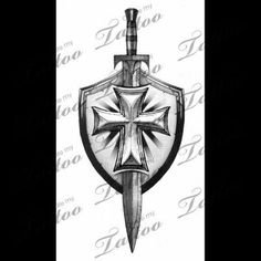 Grey Sword And Shield Tattoo Design … Grey Sword And Shield Tattoo Design … God Tattoos, Celtic Tattoos, Future Tattoos, Body Art Tattoos, Tattoos For Guys, Armor Of God Tattoo, Sword Tattoo, I Tattoo, Tattoo Sleeve Designs