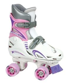 Chicago Girls Adjustable Quad Skate ,SM(J10-J13) by Chicago Skates. $29.99. Amazon.com                This cute and sporty girl's quad skate adjusts through four full sizes so there's no need to worry about her growing out of them so fast. Constructed of durable vinyl, the skate features adjustable micro-ratchet buckles to provide a precise and secure closure, fitting each size snugly and comfortably. Oversized composition wheels and semi-precision bearings provide a smo...