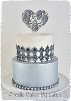 Small Silver Wedding Cake Trio 2 - Cake by Angelic Cakes By Sarah