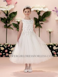 7ed01d2229645 Joan Calabrese Style 114342- Sleeveless Dress with Floral Lace Embroidery  $298.00 Holy Communion Dresses,