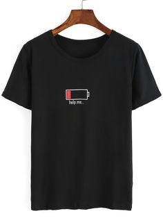 Shop Battery Print Black T-shirt online. SheIn offers Battery Print Black T-shir - Fashionable T Shirt - Ideas of Fashionable T Shirt - Shop Battery Print Black T-shirt online. SheIn offers Battery Print Black T-shirt & more to fit your fashionable needs. Cool T Shirts, Funny Shirts, Tee Shirts, Tees, Chemise Fashion, Mode Turban, Beau T-shirt, Mode Kawaii, Mode Grunge