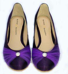 Flats Boda color Morado con Tul y Diamante. Calzado Rodrigo Hernandez.