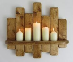 Upcycled Wooden Pallet Candle Shelf
