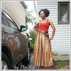 Pleated, african print maxi skirt