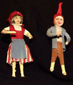 Antique Ornament Spun Cotton Scrap Face Boy and Girl VERY RARE TO FIND PAIR   eBay