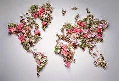 karta med blommor, värlsdkarta med blommor, karta blommor dior, map of flowers, world map flowers, map flowers dior