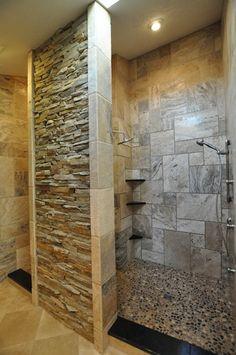 Bali Ocean Pebble tile on the floor. #shower #tile #custom  Gorgeous ledgestone wall...