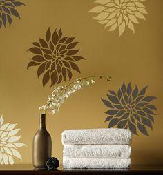 Flower Stencil Dahlia Grande SM - Reusable wall stencils better than wall decals. $16.95, via Etsy.
