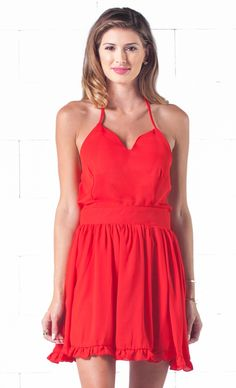 Indie XO Hopeful Love Red Spaghetti Strap V Neck Backless Chiffon Ruffle Trim Skater Circle A Line Flare Mini Dress - Just Ours!