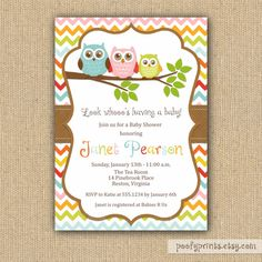 Owl Baby Shower Invitations  DIY Printable by PoofyPrints on Etsy,