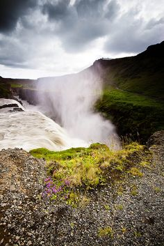 Waterfalls at Gullfoss Iceland, photographed by Helga Kvam.