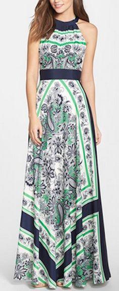 Scarf print halter maxi dress
