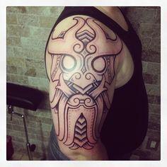 Trollmask/godmask of the day. 8 hours of fun. #nordic #troll #ink #tattoo #sacredtattoonyc #broadway #nyc #imageoftheday