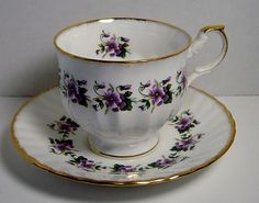 Rosina China Co. Ltd. Queen's Fine Bone China Made In England Purple Cup Saucer