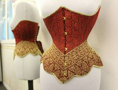 [We should remember this when we're designing your gown--every time I see a line of trim or sash that comes down to a point like this (the middle section of trim, with straight edges), I notice how flattering it is.  Some of the gowns I've seen with it are from around 1900.] Underbust corset in bias cut Thai silk by Marianne Tatou