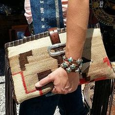 Bracelet, but the handbag is pretty awesome, too. Made from blankets Navajo rugs and other vintage textiles.Ooo So Santa Fe store Western Purses, Handmade Handbags, How To Make Handbags, Southwest Style, Leather Projects, Vintage Textiles, Beautiful Bags, Cowhide Leather, Tote Handbags