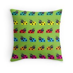 Ladybirds - Throw Pillow Cover - Lime Green - http://annumar.com/en/designs/ladybirds-throw-pillow-cover-lime-green