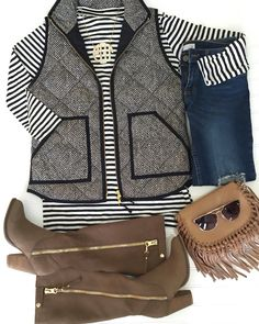 Stripes and herringbone vest! Preppy fall outfit!   Instagram: my.southern.style