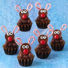 Chocolate Rudolph Cupcakes - The Ultimate Chocolate Cupcake is decorated for Christmas.