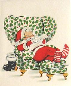 Santa checking his list vintage Christmas card image Christmas Card Images, Vintage Christmas Images, Christmas Graphics, Christmas Past, Retro Christmas, Vintage Holiday, Christmas Greeting Cards, Vintage Greeting Cards, Christmas Pictures