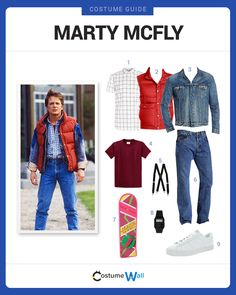 Dress Like Marty McFly from Back to the Future. See additional costumes and Marty McFly cosplays. Marty Mcfly Halloween Costume, Couple Halloween, Halloween Cosplay, Halloween 2019, Halloween Costumes, Movie Themed Costumes, Movie Character Costumes, Kids Costumes Boys, Kids 80s Costume