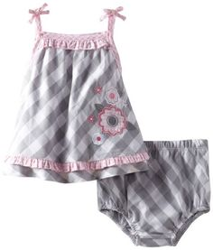 Little+Me+Baby-Girls+Newborn+Checkered+Floral+Woven+Sunsuit