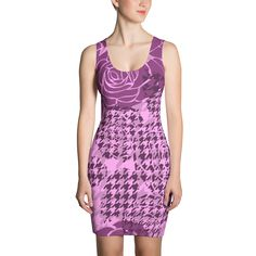 Houndstooth Print. Pink Roses - Fitted Dress - DogzPrinted