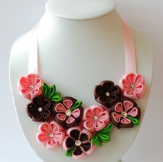 Flower bib necklace  Kanzashi Brown Pink Green by PetalGirly