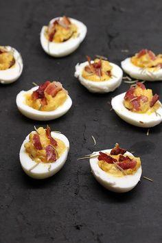 Spiced Bacon Deviled Eggs | Ruled Me: