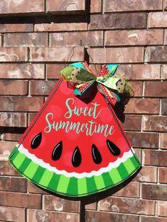Decorating Blogs, Porch Decorating, Summer Porch Decor, Watermelon Decor, Summer Signs, Summer Painting, Wooden Cutouts, Wooden Door Hangers, Wood Creations