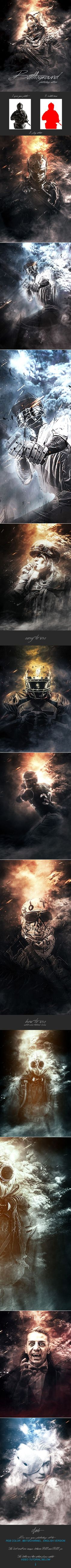 Battleground  Photoshop Action — Photoshop ATN #sketch #background • Available here ➝ https://graphicriver.net/item/battleground-photoshop-action/20614837?ref=pxcr