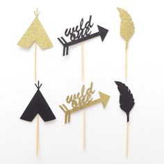 Add a little *sparkle* to your next celebration!  Bohemian inspired party  This listing is for a MIXED Pack of 12 Gold Glitter Cupcake Toppers  ***Please select from the dropdown menu which set style you prefer***  Set 1 - Teepee , Arrow with Wild One + Feather Set 2 - Arrow, Teepee + Feather  This Pack will include 4 x of each style selected  Glitter cardstock will be non shed glitter on the front & solid white on the back  As this item is made to order, please allow 3-5 business days fo...