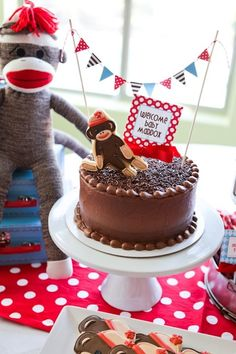 Celebrate the year of the monkey at your baby shower with a sock-monkey theme.
