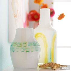 Transform plain-Jane milky-white vases with freehand painting. Mix glass paint with a few drops of paint thinner. If desired, adjust the amount of paint thinner to achieve varying viscosities and results, such as drips and runs. Paint freehand designs on each vase using an acrylic brush./