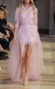 Sheer Button Front Dress by CAROLINA HERRERA for Preorder on Moda Operandi