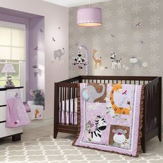 Ladybug Jungle Purple/Brown Elephant, Zebra, Giraffe & Hippo Nursery Baby Crib Bedding Set L Purple Bedding Sets, Baby Crib Bedding Sets, Girls Bedding Sets, Nursery Bedding, Baby Cribs, Nursery Room, Ladybug Room, Ladybug Nursery, Jungle Nursery